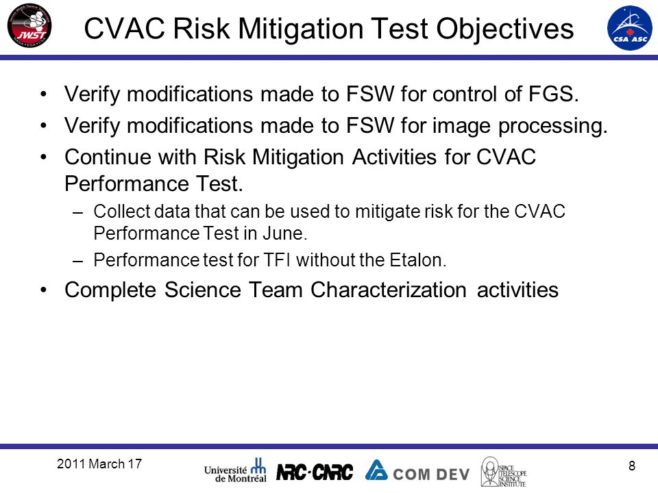 CVAC Risk Mitigation Test Objectives Verify modifications made to FSW for control of FGS. Verify modifications made to FSW for image processing. Conti