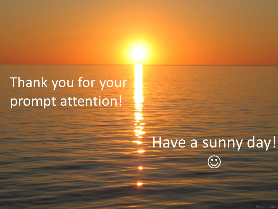 Thank you for your prompt attention! Have a sunny day!
