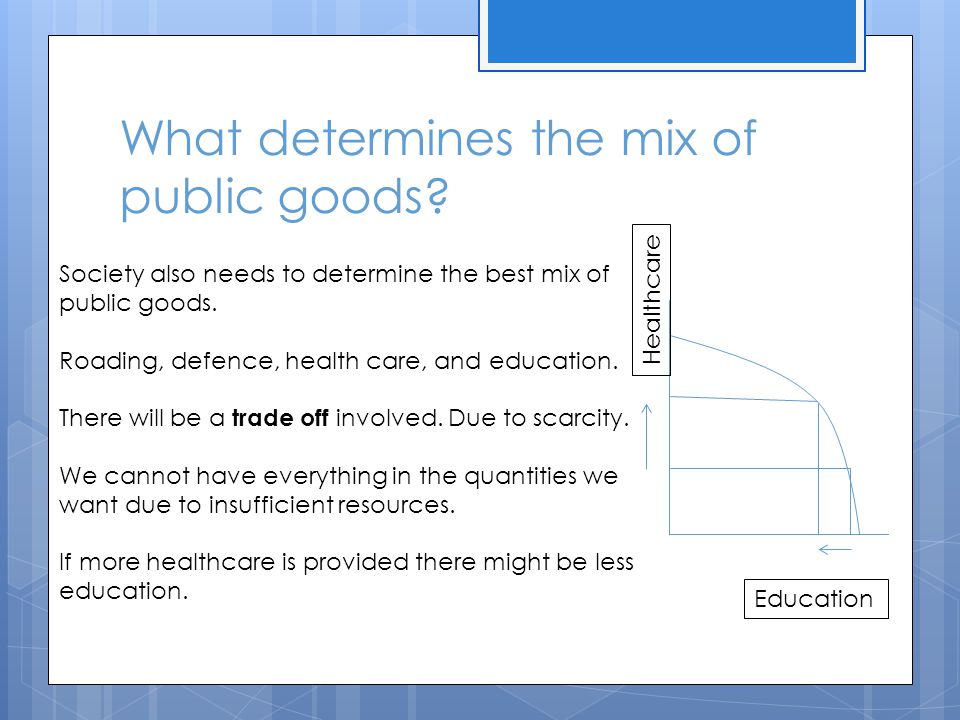 What determines the mix of public goods.