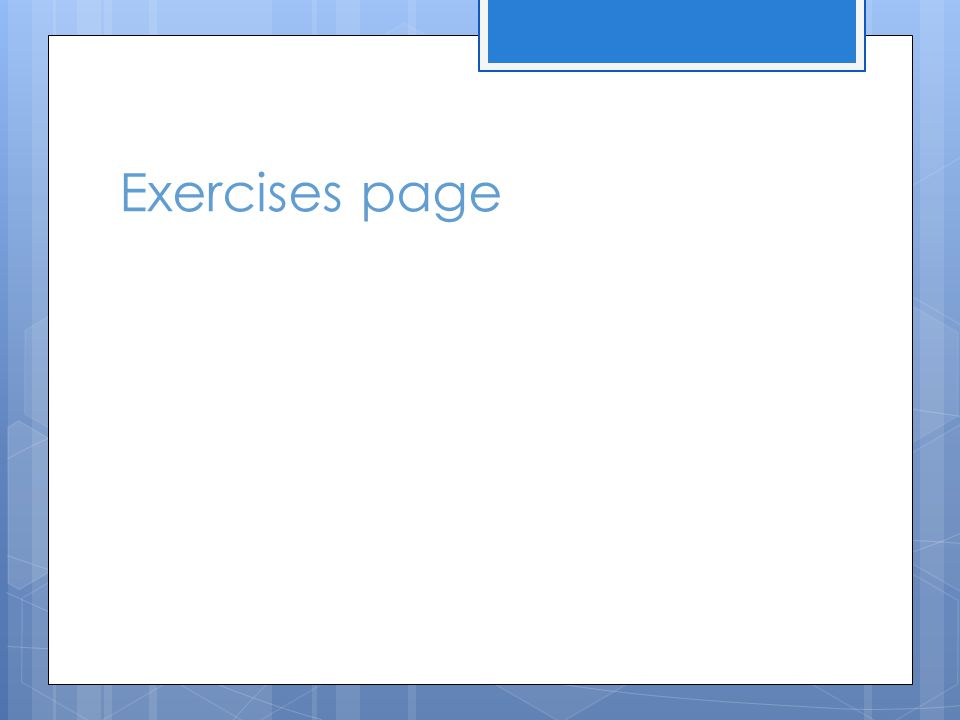 Exercises page