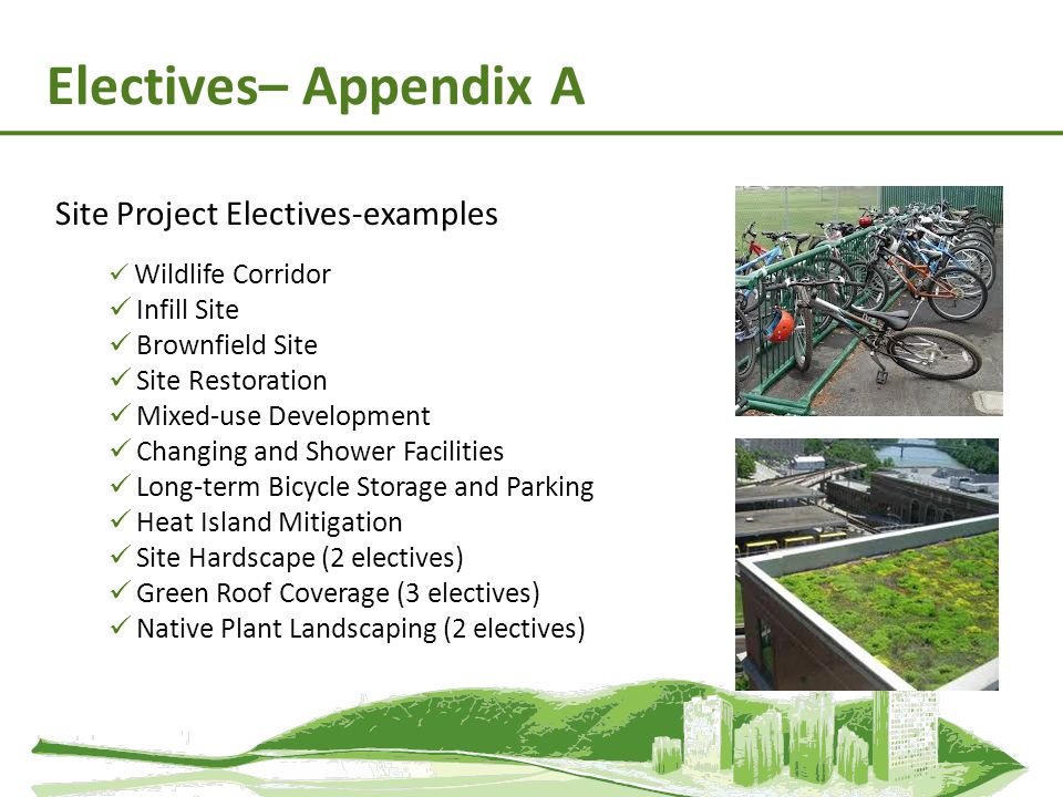 Electives– Appendix A Site Project Electives-examples Wildlife Corridor Infill Site Brownfield Site Site Restoration Mixed-use Development Changing an