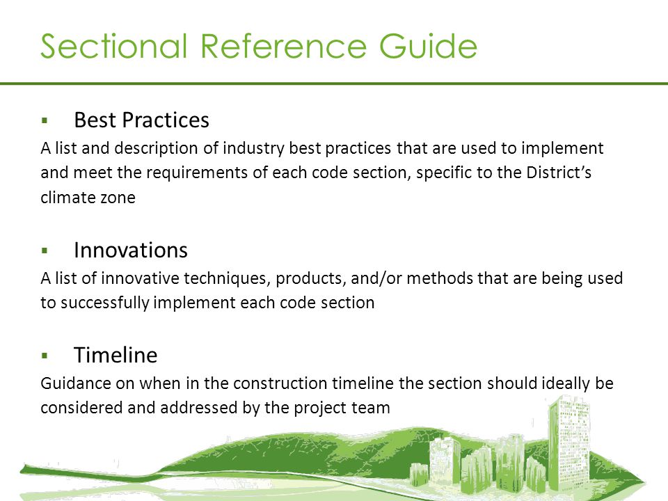 Sectional Reference Guide Best Practices A list and description of industry best practices that are used to implement and meet the requirements of eac