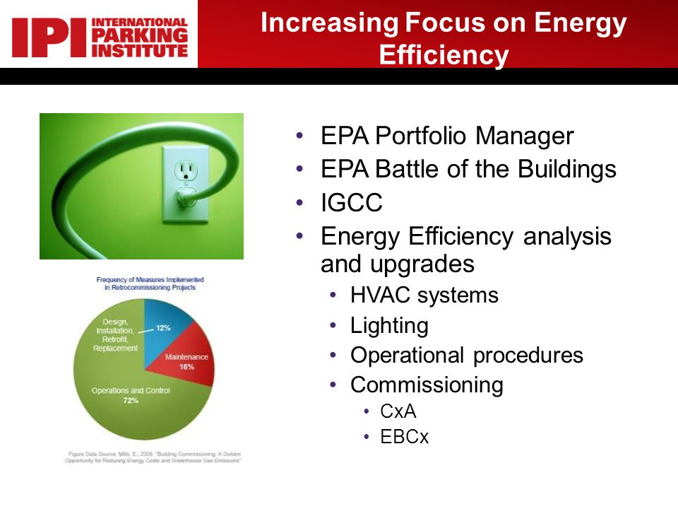Increasing Focus on Energy Efficiency EPA Portfolio Manager EPA Battle of the Buildings IGCC Energy Efficiency analysis and upgrades HVAC systems Lighting Operational procedures Commissioning CxA EBCx