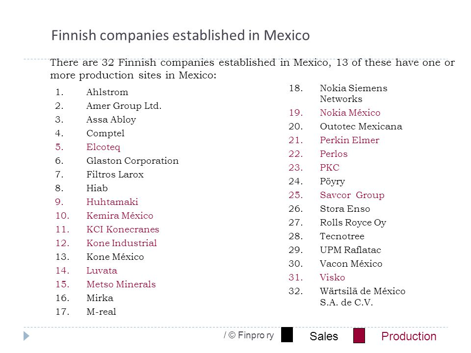 / © Finpro ry Finnish companies established in Mexico 1.Ahlstrom 2.Amer Group Ltd.