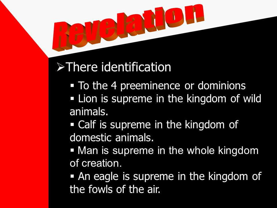There identification To the 4 preeminence or dominions Lion is supreme in the kingdom of wild animals.