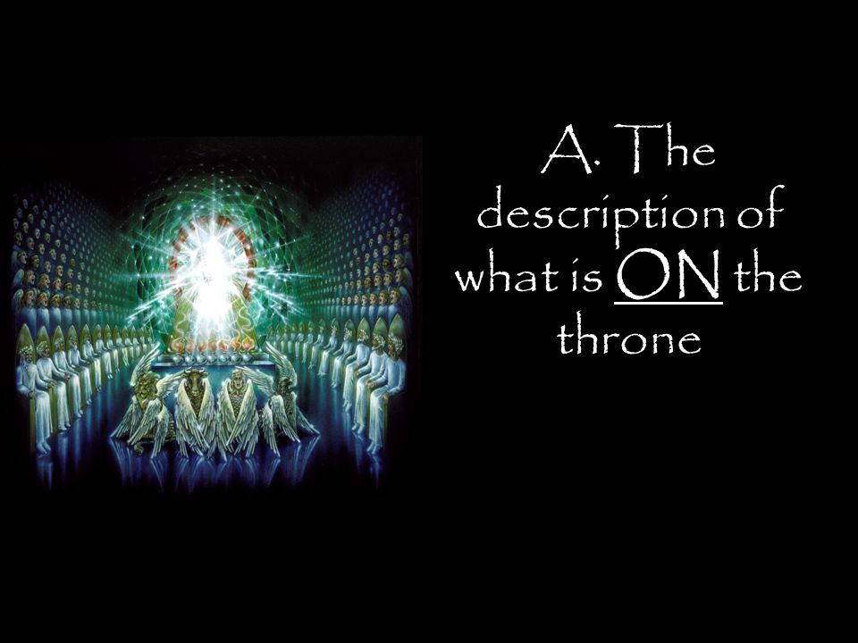 A. The description of what is ON the throne