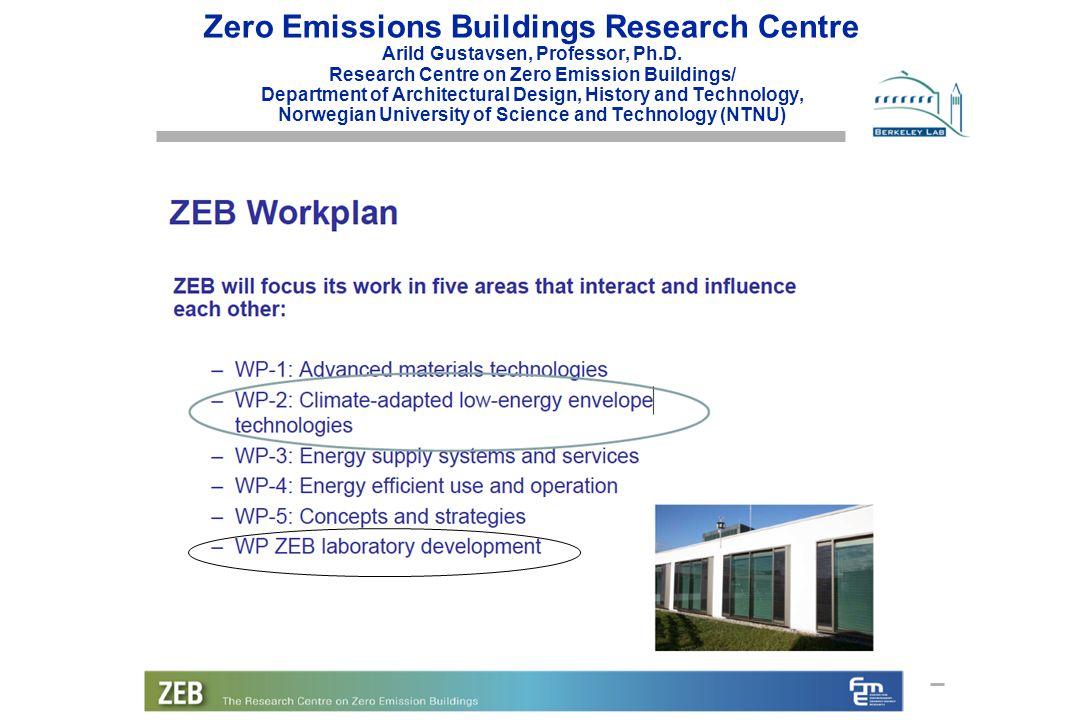 Lawrence Berkeley National Laboratory Zero Emissions Buildings Research Centre Arild Gustavsen, Professor, Ph.D.
