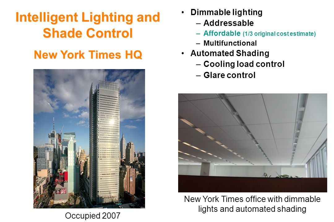 Dimmable lighting –Addressable –Affordable (1/3 original cost estimate) –Multifunctional Automated Shading –Cooling load control –Glare control Intelligent Lighting and Shade Control New York Times HQ New York Times office with dimmable lights and automated shading Occupied 2007