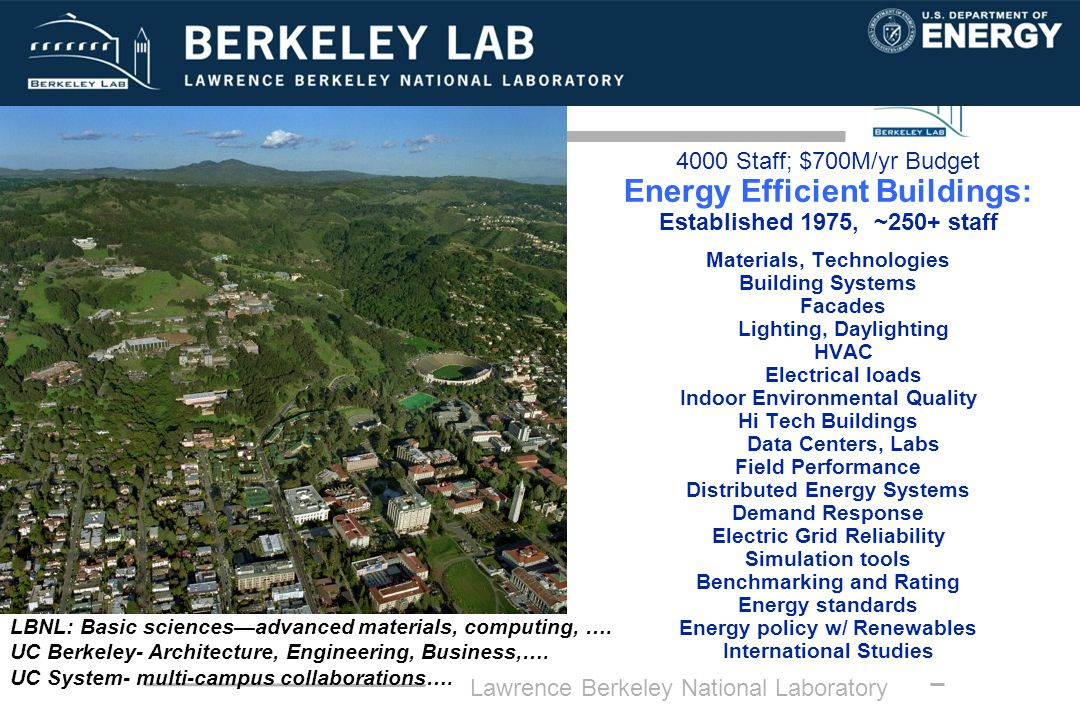 Lawrence Berkeley National Laboratory 4000 Staff; $700M/yr Budget Energy Efficient Buildings: Established 1975, ~250+ staff Materials, Technologies Building Systems Facades Lighting, Daylighting HVAC Electrical loads Indoor Environmental Quality Hi Tech Buildings Data Centers, Labs Field Performance Distributed Energy Systems Demand Response Electric Grid Reliability Simulation tools Benchmarking and Rating Energy standards Energy policy w/ Renewables International Studies LBNL: Basic sciencesadvanced materials, computing, ….