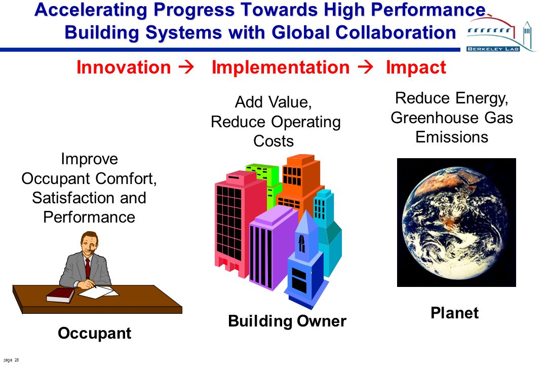 page 26 Accelerating Progress Towards High Performance Building Systems with Global Collaboration Improve Occupant Comfort, Satisfaction and Performance Add Value, Reduce Operating Costs Reduce Energy, Greenhouse Gas Emissions Occupant Building Owner Planet Innovation Implementation Impact
