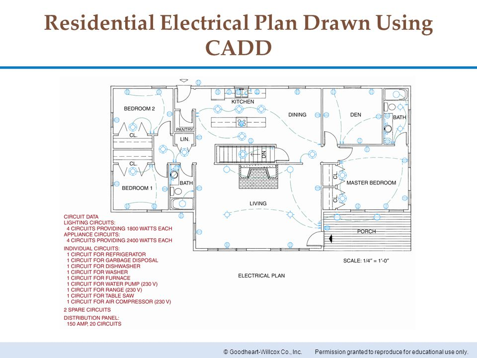 Permission granted to reproduce for educational use only.© Goodheart-Willcox Co., Inc. Residential Electrical Plan Drawn Using CADD