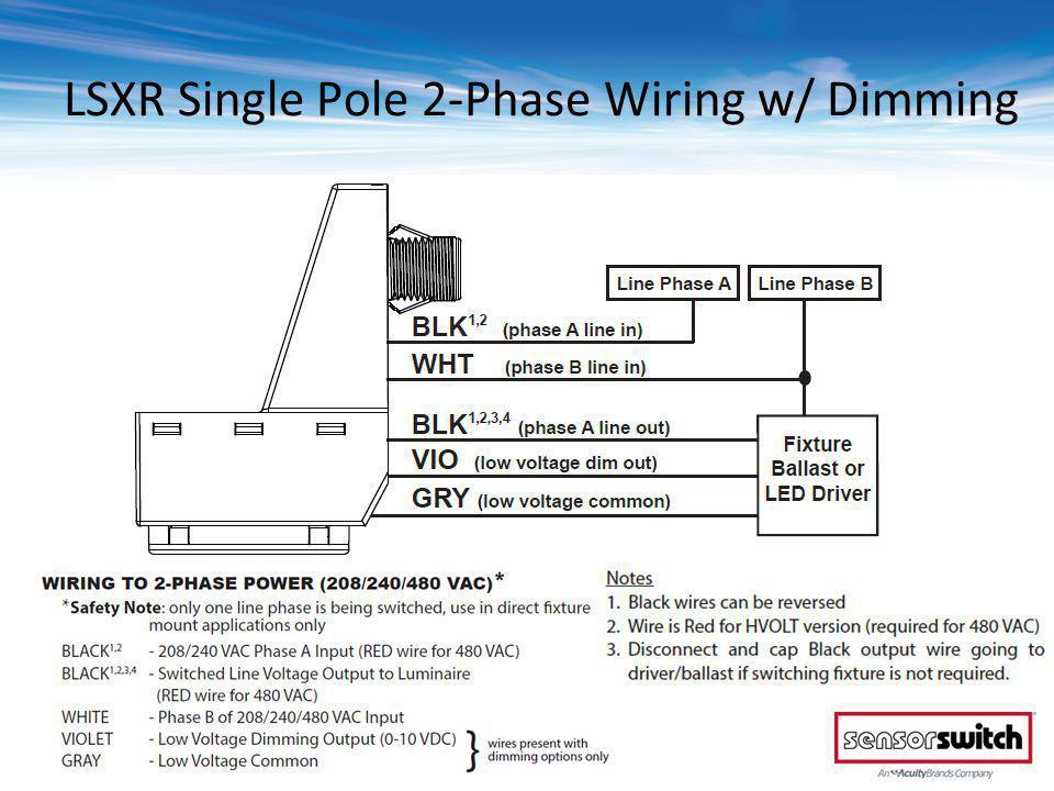 © 2013 Sensor Switch LSXR Single Pole 2-Phase Wiring w/ Dimming
