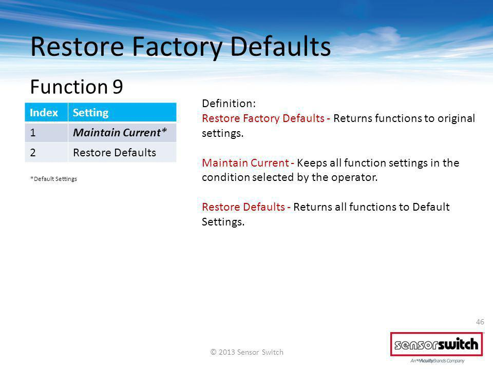 Restore Factory Defaults 46 IndexSetting 1Maintain Current* 2Restore Defaults Definition: Restore Factory Defaults - Returns functions to original set