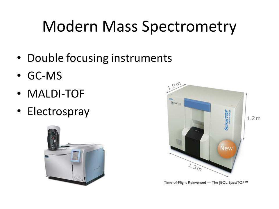 Double focusing instruments GC-MS MALDI-TOF Electrospray
