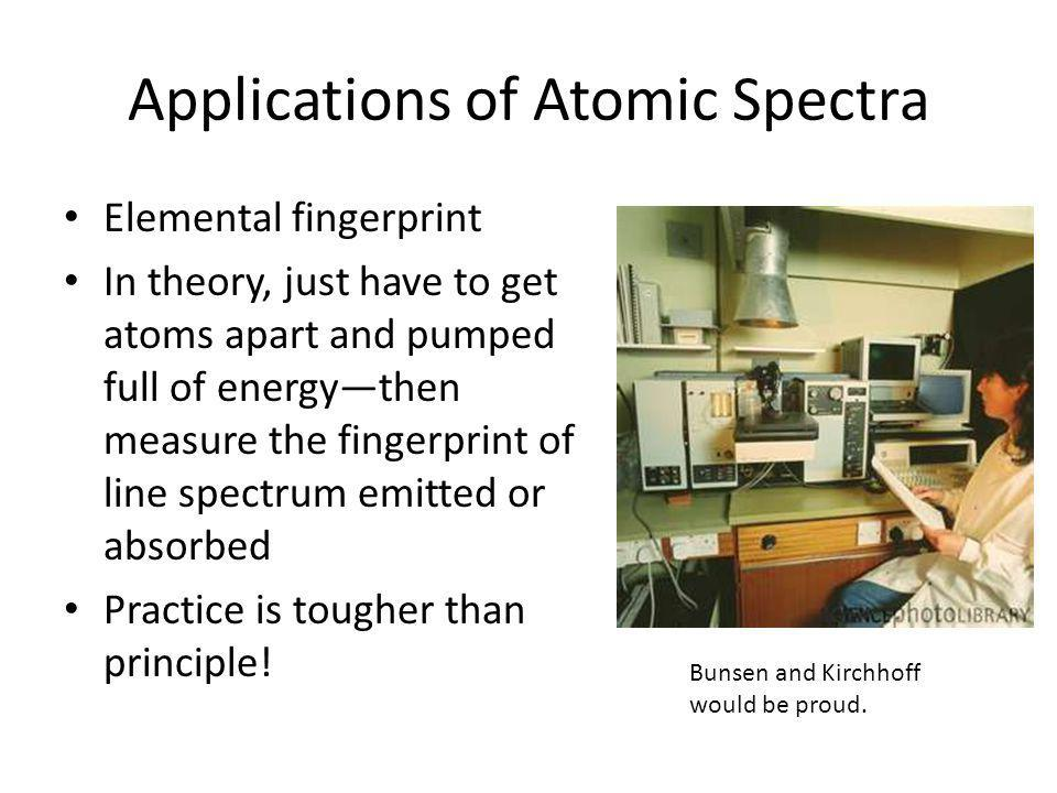 Applications of Atomic Spectra Elemental fingerprint In theory, just have to get atoms apart and pumped full of energythen measure the fingerprint of
