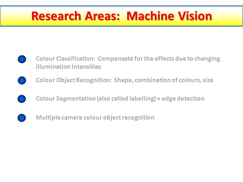 Research Areas: Machine Vision Colour Classification: Compensate for the effects due to changing illumination intensities Colour Object Recognition: Shape, combination of colours, size Colour Segmentation (also called labelling) + edge detection Multiple camera colour object recognition