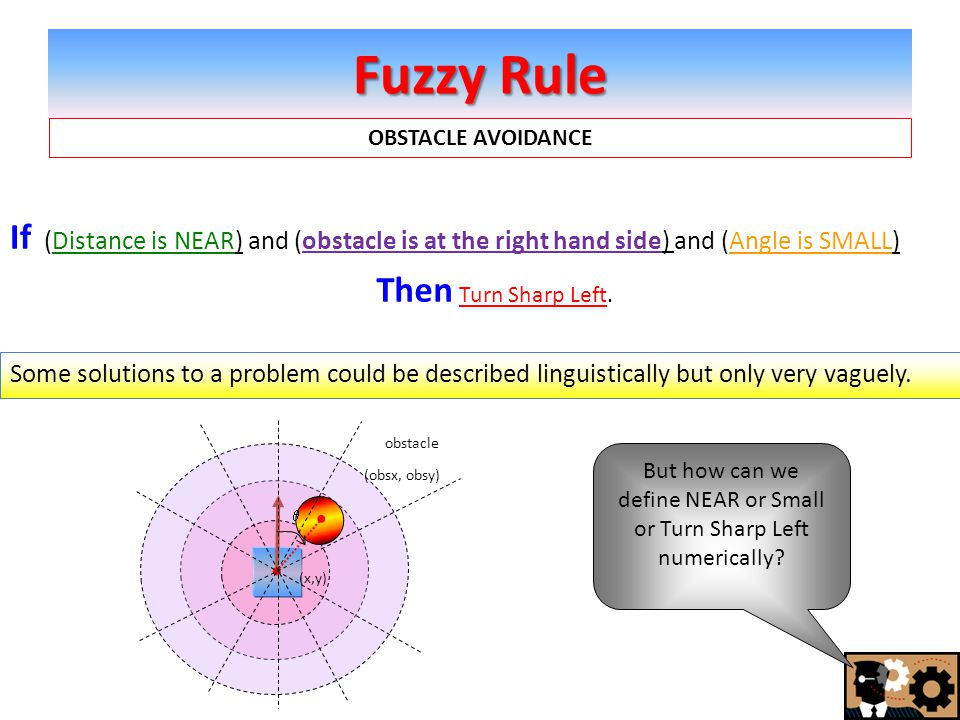 Fuzzy Rule If (Distance is NEAR) and (obstacle is at the right hand side) and (Angle is SMALL) But how can we define NEAR or Small or Turn Sharp Left