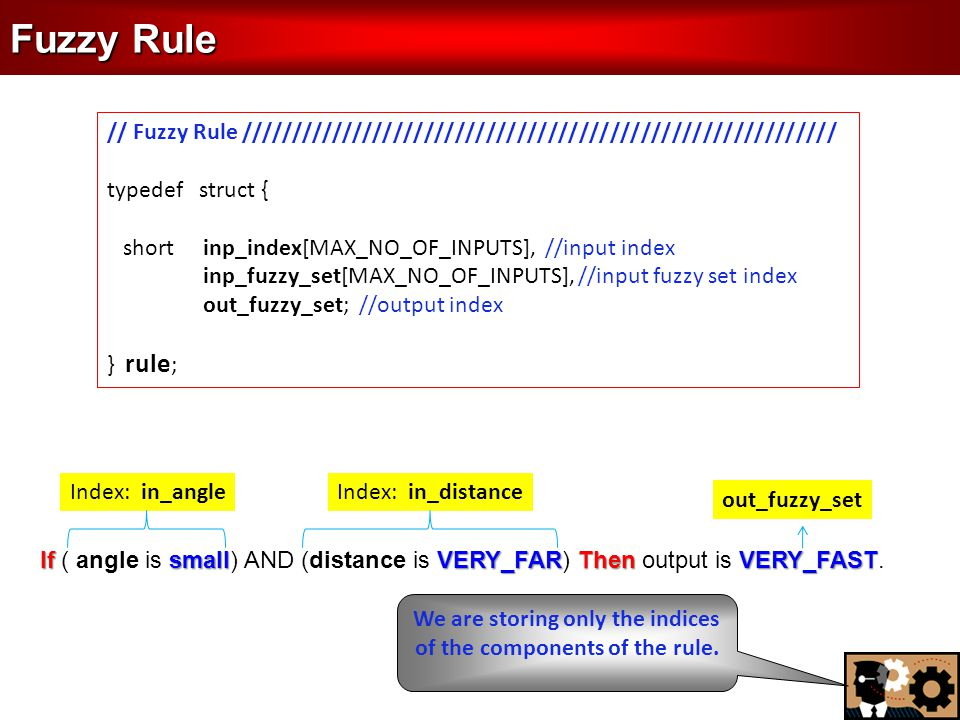 Fuzzy Rule // Fuzzy Rule ////////////////////////////////////////////////////////// typedef struct { short inp_index[MAX_NO_OF_INPUTS], //input index inp_fuzzy_set[MAX_NO_OF_INPUTS], //input fuzzy set index out_fuzzy_set; //output index } rule ; If smallVERY_FARThen VERY_FAST If ( angle is small) AND (distance is VERY_FAR) Then output is VERY_FAST.