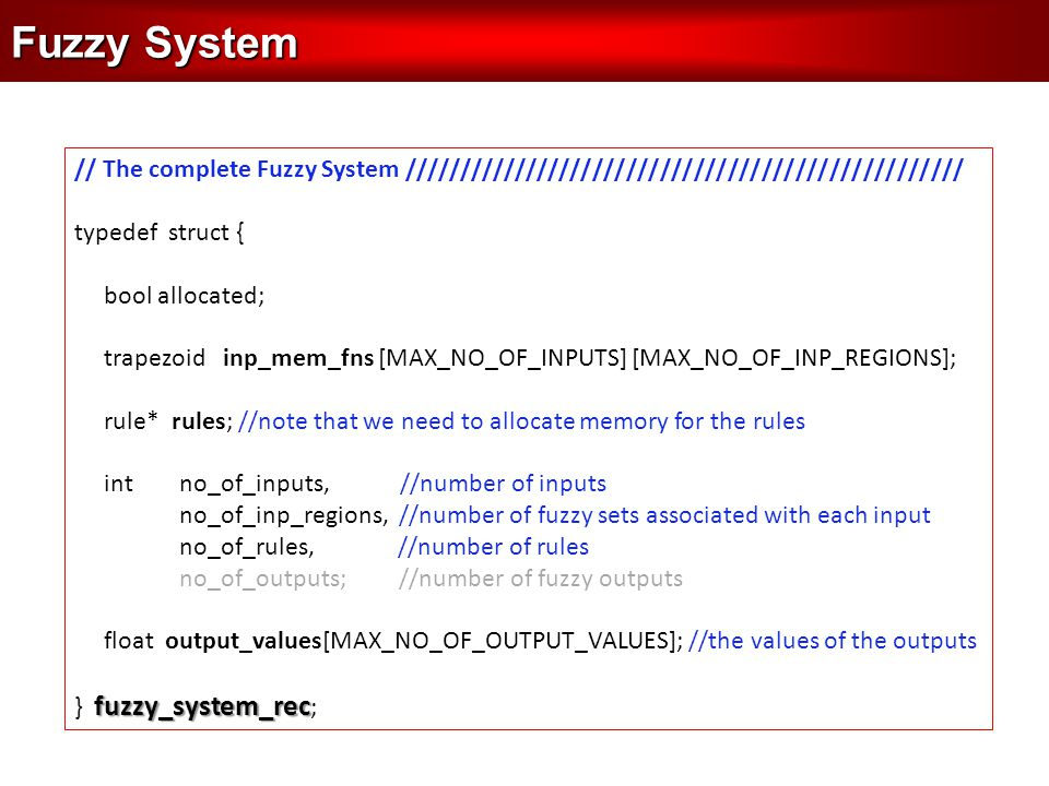 Fuzzy System // The complete Fuzzy System ////////////////////////////////////////////////// typedef struct { bool allocated; trapezoid inp_mem_fns [M