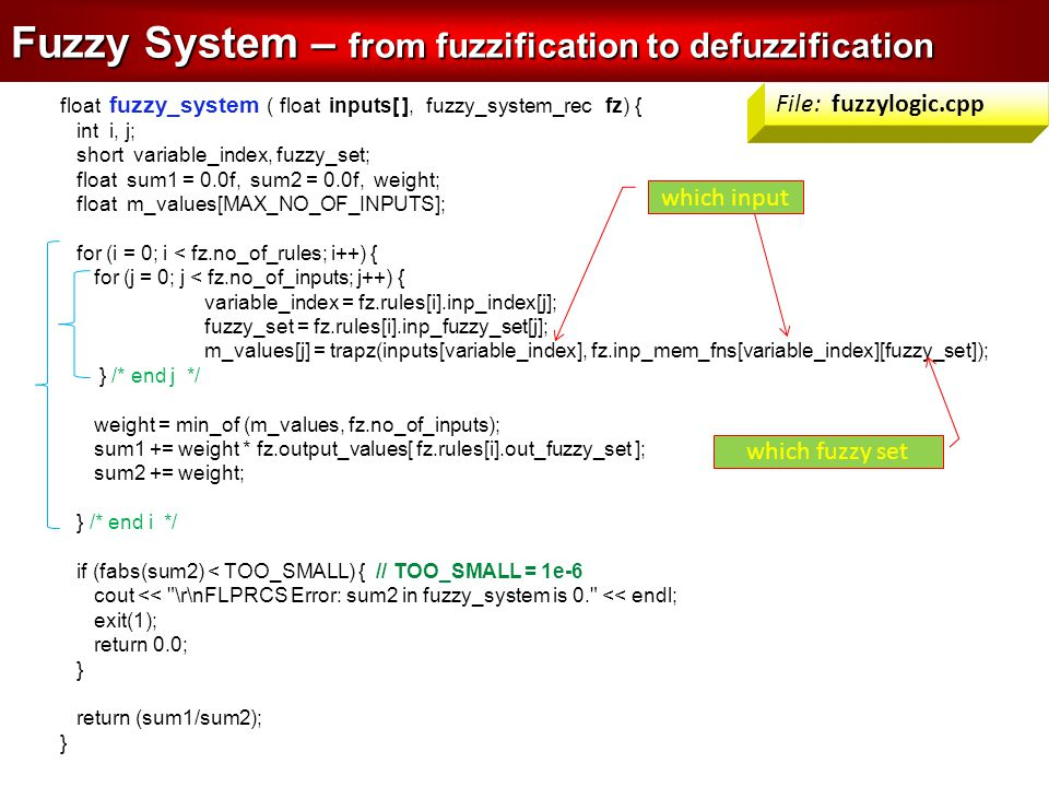 float fuzzy_system ( float inputs[ ], fuzzy_system_rec fz) { int i, j; short variable_index, fuzzy_set; float sum1 = 0.0f, sum2 = 0.0f, weight; float m_values[MAX_NO_OF_INPUTS]; for (i = 0; i < fz.no_of_rules; i++) { for (j = 0; j < fz.no_of_inputs; j++) { variable_index = fz.rules[i].inp_index[j]; fuzzy_set = fz.rules[i].inp_fuzzy_set[j]; m_values[j] = trapz(inputs[variable_index], fz.inp_mem_fns[variable_index][fuzzy_set]); } /* end j */ weight = min_of (m_values, fz.no_of_inputs); sum1 += weight * fz.output_values[ fz.rules[i].out_fuzzy_set ]; sum2 += weight; } /* end i */ if (fabs(sum2) < TOO_SMALL) { // TOO_SMALL = 1e-6 cout << \r\nFLPRCS Error: sum2 in fuzzy_system is 0. << endl; exit(1); return 0.0; } return (sum1/sum2); } Fuzzy System – from fuzzification to defuzzification which input which fuzzy set File: fuzzylogic.cpp