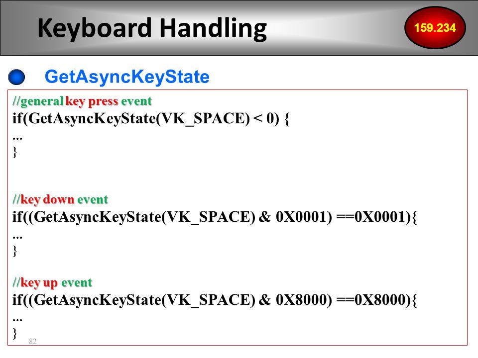 82 Keyboard Handling GetAsyncKeyState 159.234 //general key press event if(GetAsyncKeyState(VK_SPACE) < 0) {...