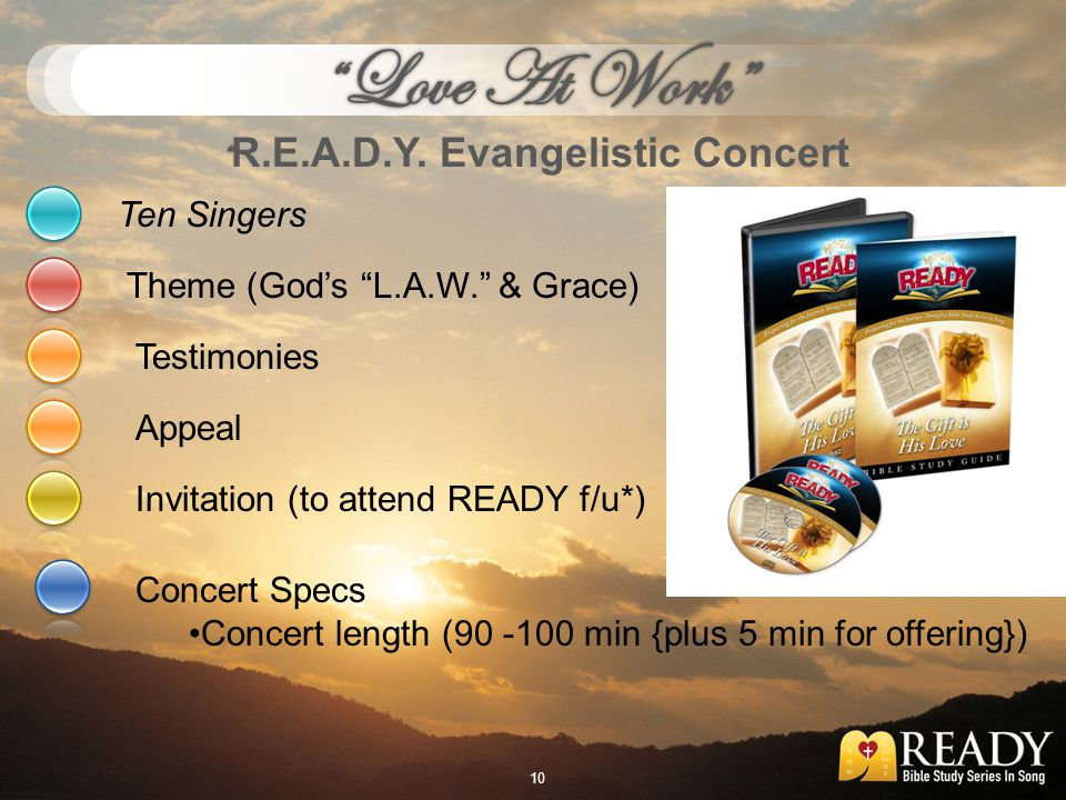 Ten Singers Concert Specs Concert length (90 -100 min {plus 5 min for offering}) Theme (Gods L.A.W. & Grace) Testimonies Invitation (to attend READY f