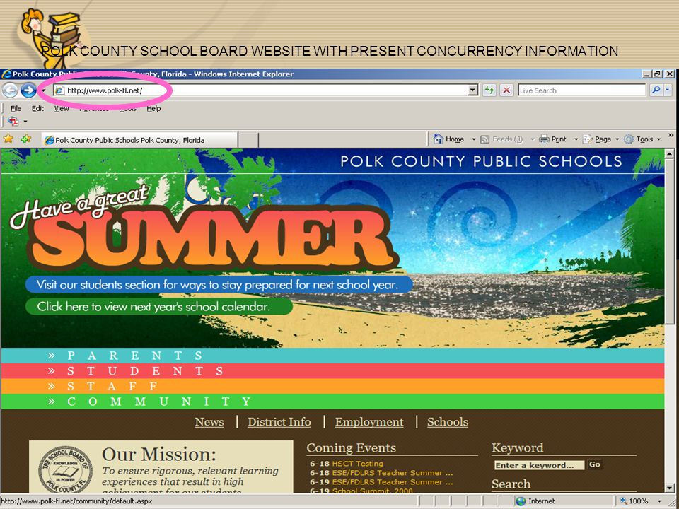 POLK COUNTY SCHOOL BOARD WEBSITE WITH PRESENT CONCURRENCY INFORMATION