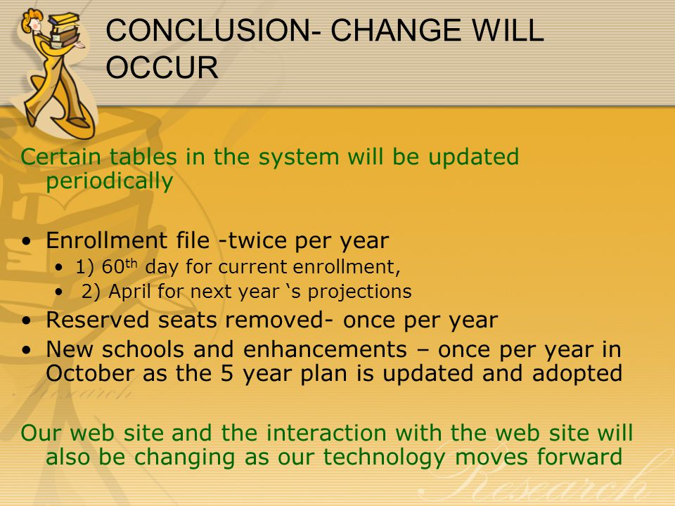 CONCLUSION- CHANGE WILL OCCUR Certain tables in the system will be updated periodically Enrollment file -twice per year 1) 60 th day for current enrol
