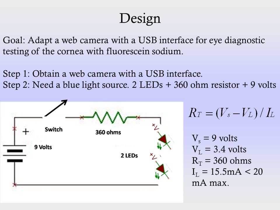 Design Goal: Adapt a web camera with a USB interface for eye diagnostic testing of the cornea with fluorescein sodium. Step 1: Obtain a web camera wit