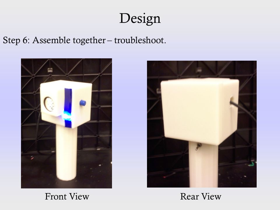 Design Step 6: Assemble together – troubleshoot. Front ViewRear View
