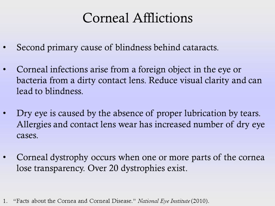 Corneal Afflictions Second primary cause of blindness behind cataracts. Corneal infections arise from a foreign object in the eye or bacteria from a d