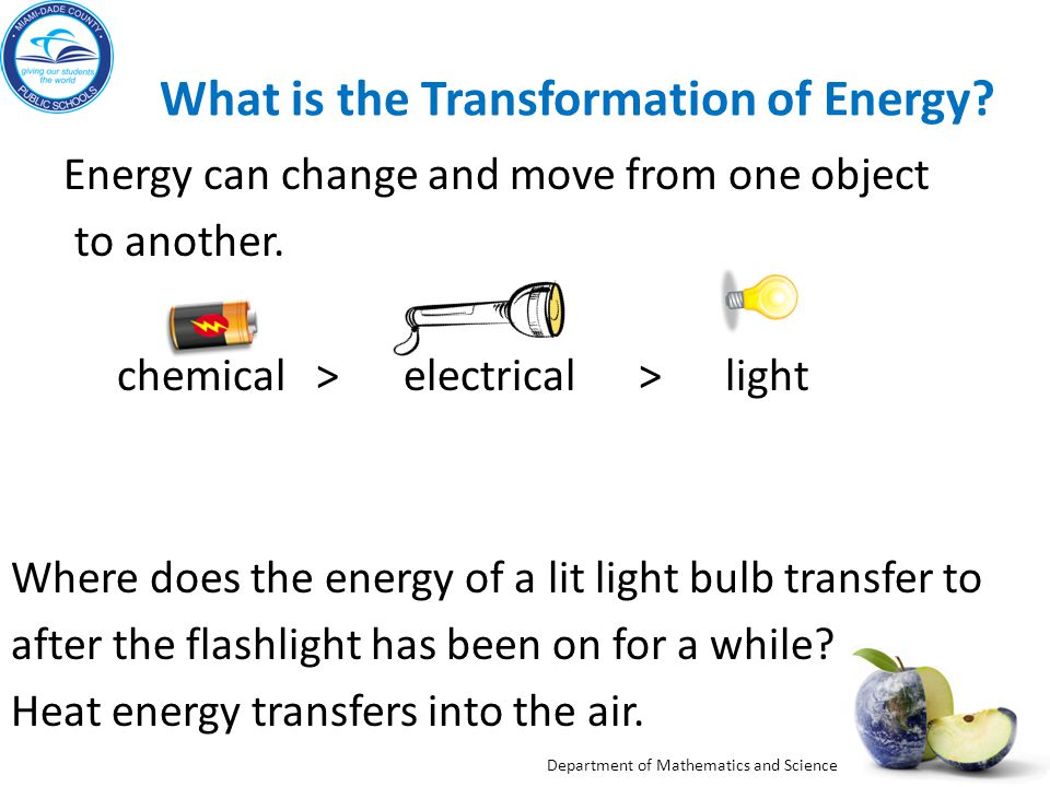 Department of Mathematics and Science What is the Transformation of Energy.
