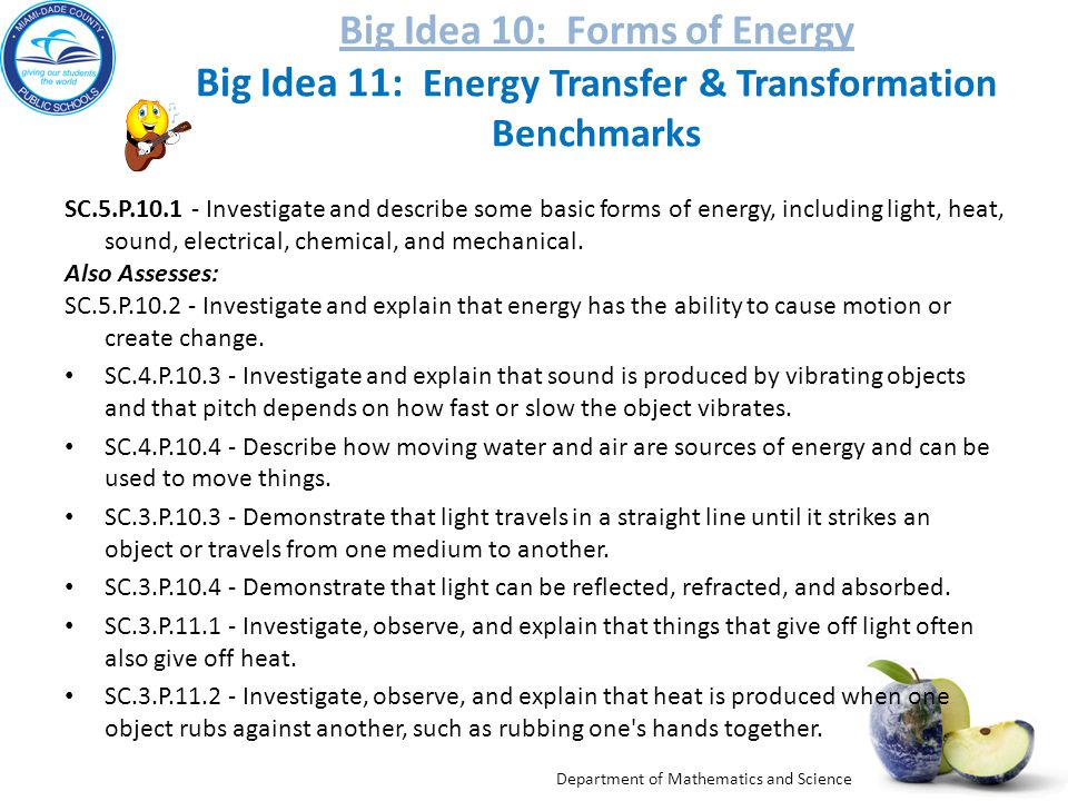 Department of Mathematics and Science Big Idea 10: Forms of Energy Big Idea 10: Forms of Energy Big Idea 11: Energy Transfer & Transformation Benchmarks SC.5.P.10.1 - Investigate and describe some basic forms of energy, including light, heat, sound, electrical, chemical, and mechanical.