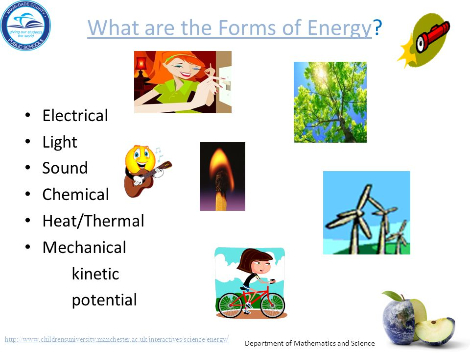 Department of Mathematics and Science What are the Forms of EnergyWhat are the Forms of Energy? Electrical Light Sound Chemical Heat/Thermal Mechanica