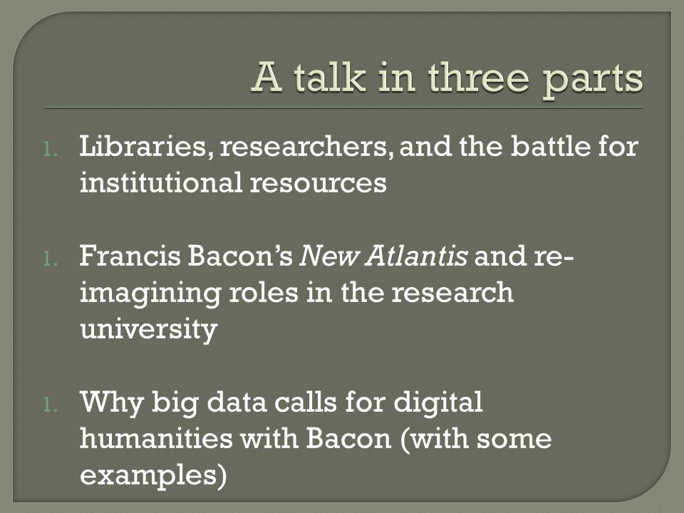 1. Libraries, researchers, and the battle for institutional resources 1.