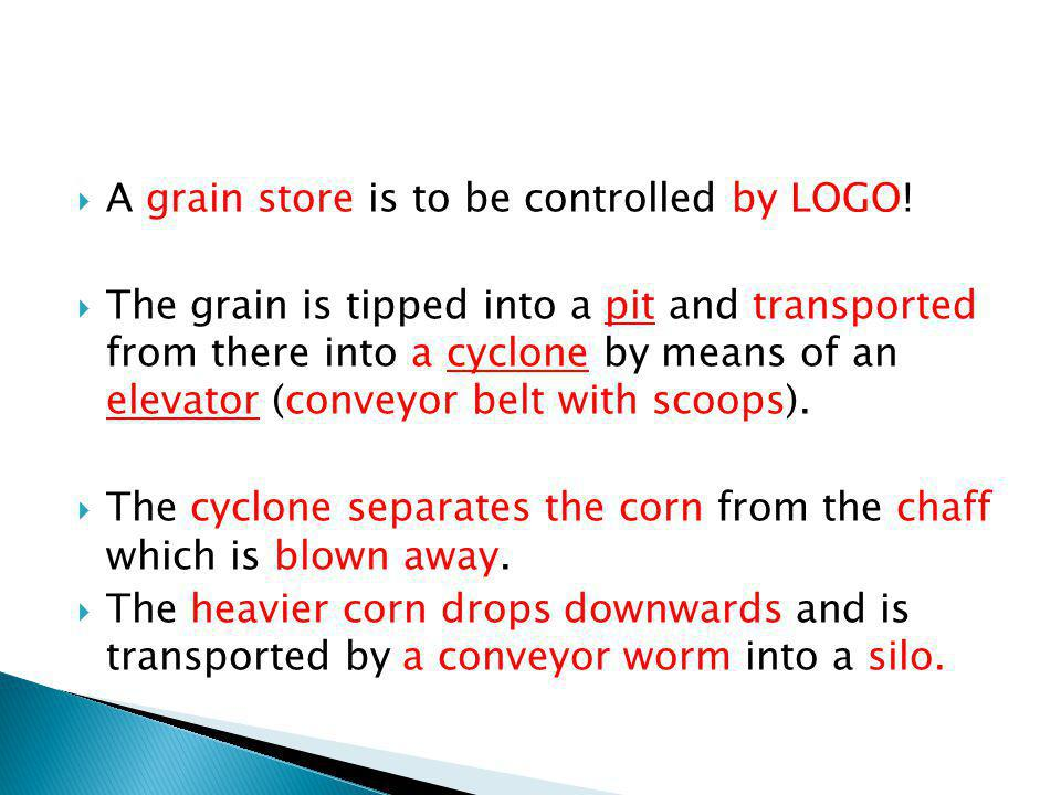 A grain store is to be controlled by LOGO! The grain is tipped into a pit and transported from there into a cyclone by means of an elevator (conveyor