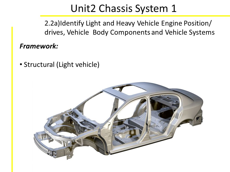 Unit2 Chassis System 1 2.2a)Identify Light and Heavy Vehicle Engine Position/ drives, Vehicle Body Components and Vehicle Systems Framework: Structura