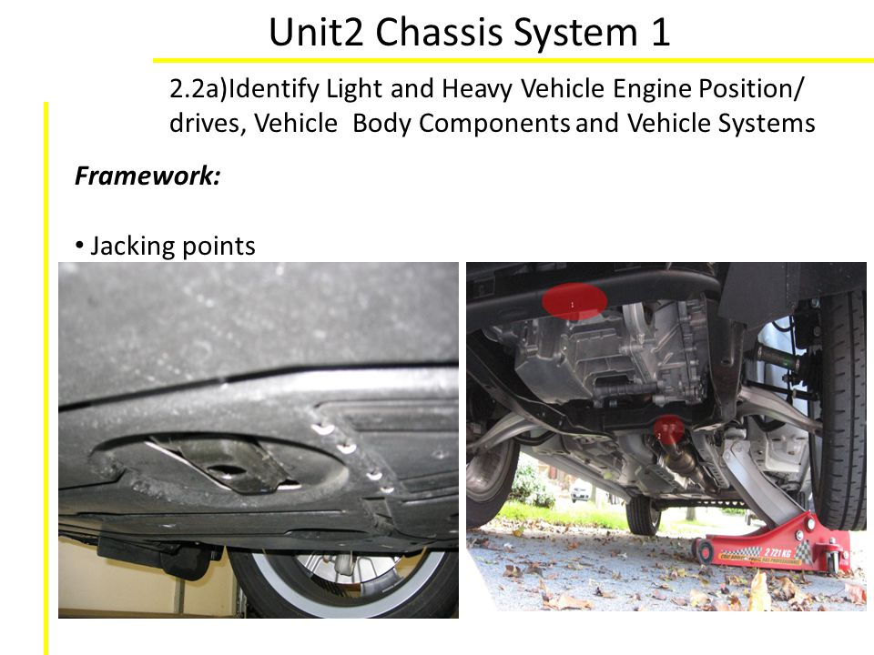 Unit2 Chassis System 1 2.2a)Identify Light and Heavy Vehicle Engine Position/ drives, Vehicle Body Components and Vehicle Systems Framework: Jacking p