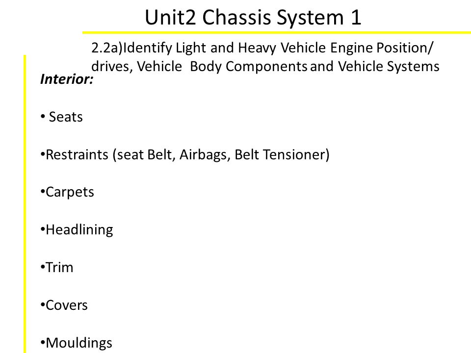 Unit2 Chassis System 1 2.2a)Identify Light and Heavy Vehicle Engine Position/ drives, Vehicle Body Components and Vehicle Systems Interior: Seats Rest
