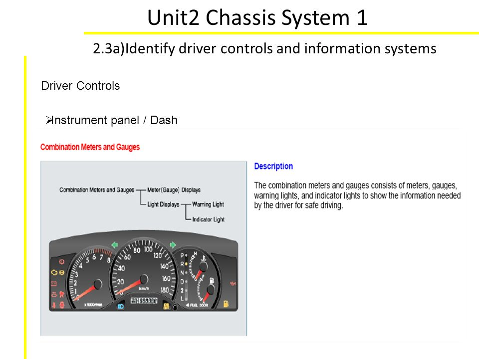 Unit2 Chassis System 1 2.3a)Identify driver controls and information systems Driver Controls Instrument panel / Dash
