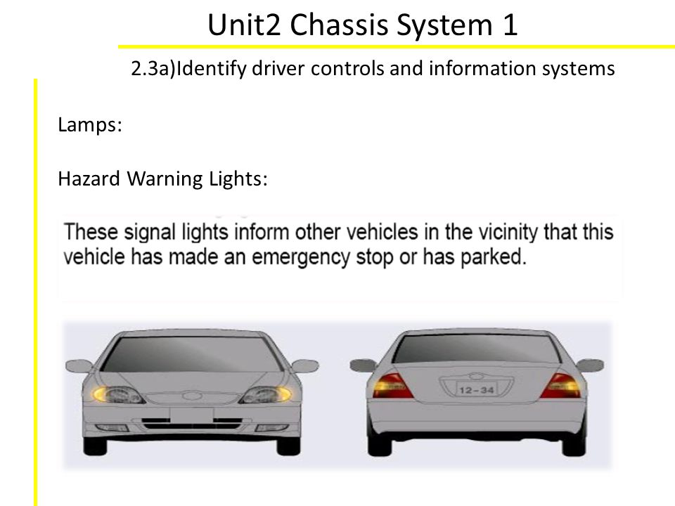 Unit2 Chassis System 1 2.3a)Identify driver controls and information systems Lamps: Hazard Warning Lights: