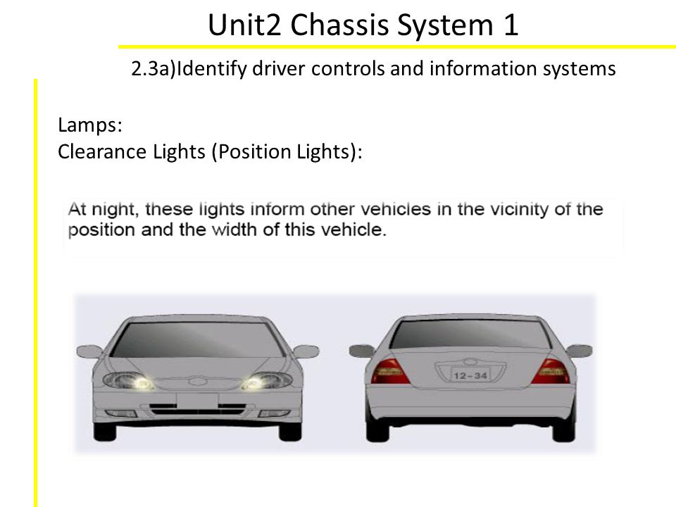 Unit2 Chassis System 1 2.3a)Identify driver controls and information systems Lamps: Clearance Lights (Position Lights):