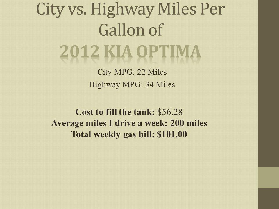 City MPG: 22 Miles Highway MPG: 34 Miles Cost to fill the tank: $56.28 Average miles I drive a week: 200 miles Total weekly gas bill: $101.00