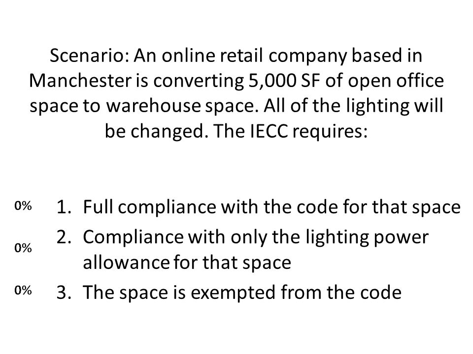 Scenario: An online retail company based in Manchester is converting 5,000 SF of open office space to warehouse space.