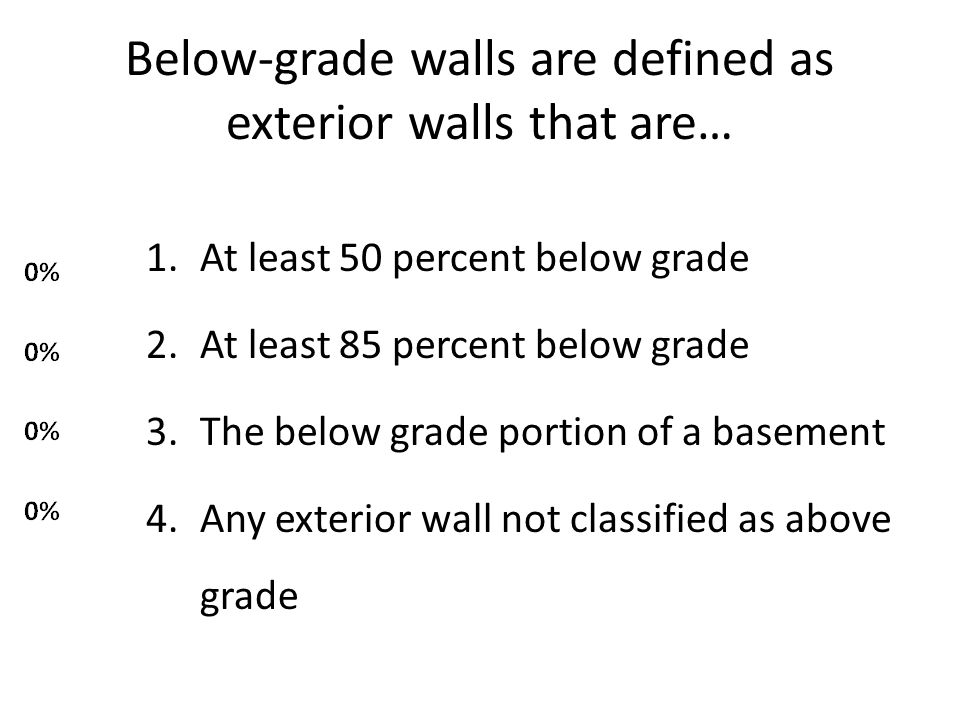 Below-grade walls are defined as exterior walls that are… 1.At least 50 percent below grade 2.At least 85 percent below grade 3.The below grade portion of a basement 4.Any exterior wall not classified as above grade
