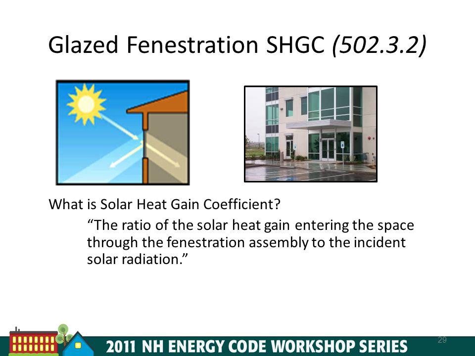 Glazed Fenestration SHGC (502.3.2) 29 What is Solar Heat Gain Coefficient.