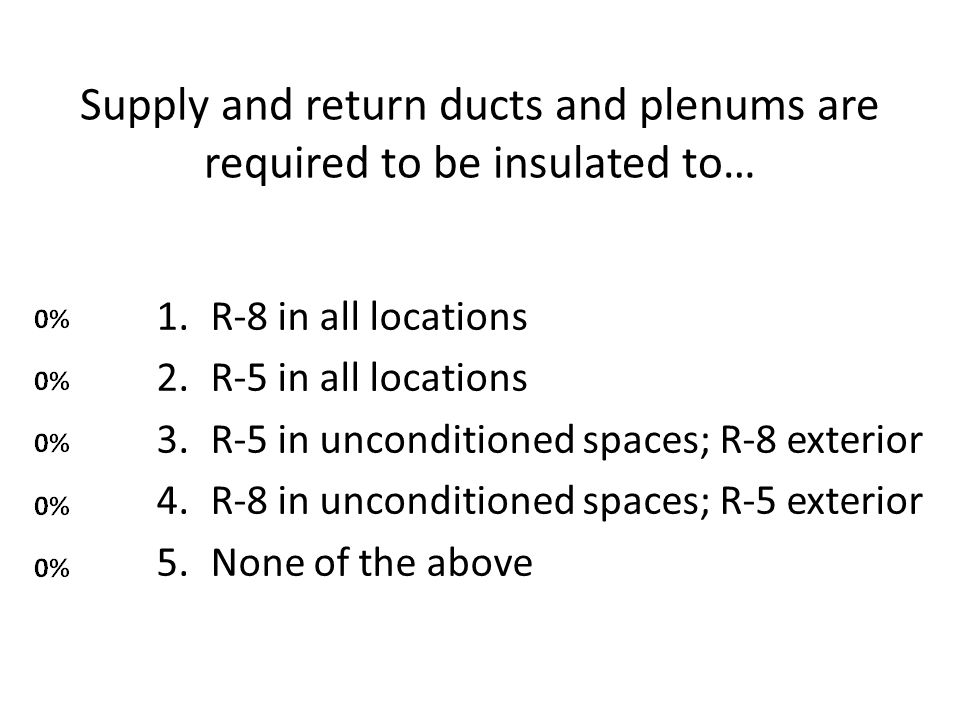 Supply and return ducts and plenums are required to be insulated to… 1.R-8 in all locations 2.R-5 in all locations 3.R-5 in unconditioned spaces; R-8 exterior 4.R-8 in unconditioned spaces; R-5 exterior 5.None of the above