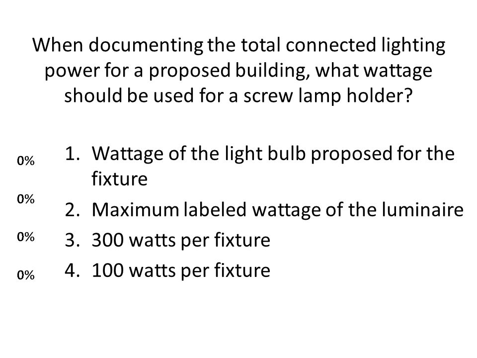 When documenting the total connected lighting power for a proposed building, what wattage should be used for a screw lamp holder.