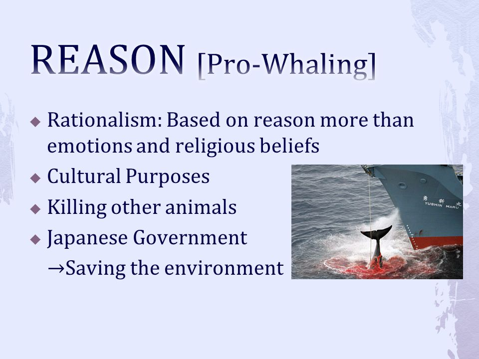 Rationalism: Based on reason more than emotions and religious beliefs Cultural Purposes Killing other animals Japanese Government Saving the environme
