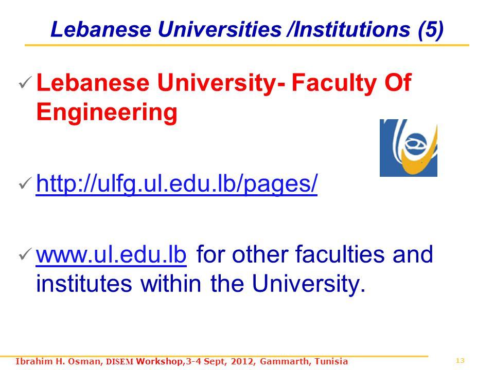 13 Ibrahim H. Osman, DISEM Workshop,3-4 Sept, 2012, Gammarth, Tunisia Lebanese Universities /Institutions (5) Lebanese University- Faculty Of Engineer